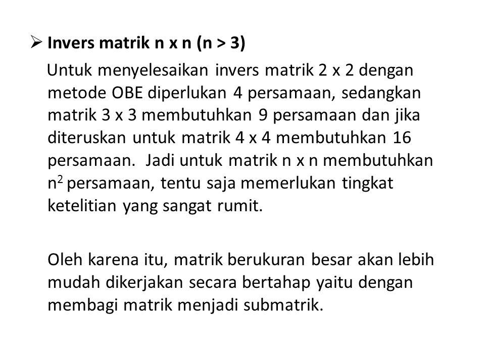 Invers matrik n x n (n > 3)