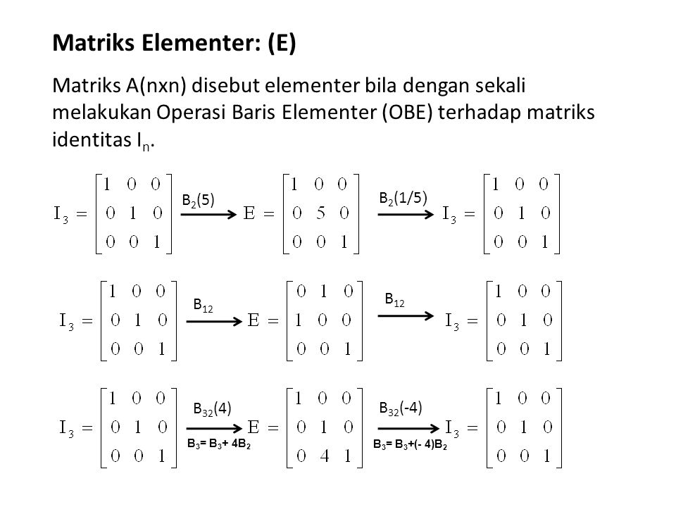 Matriks Elementer: (E)