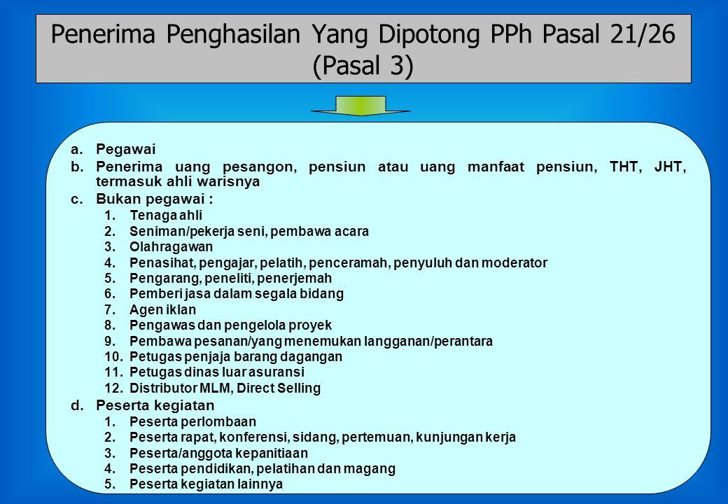 Penerima Penghasilan Yang Dipotong PPh Pasal 21/26 (Pasal 3)