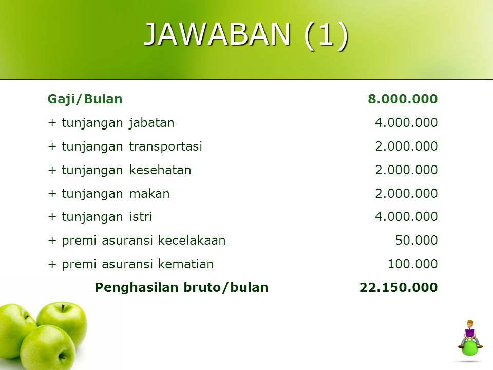 JAWABAN (1) Gaji/Bulan 8.000.000 + tunjangan jabatan 4.000.000