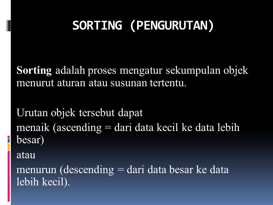 SORTING (PENGURUTAN)
