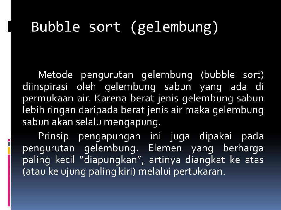 Bubble sort (gelembung)