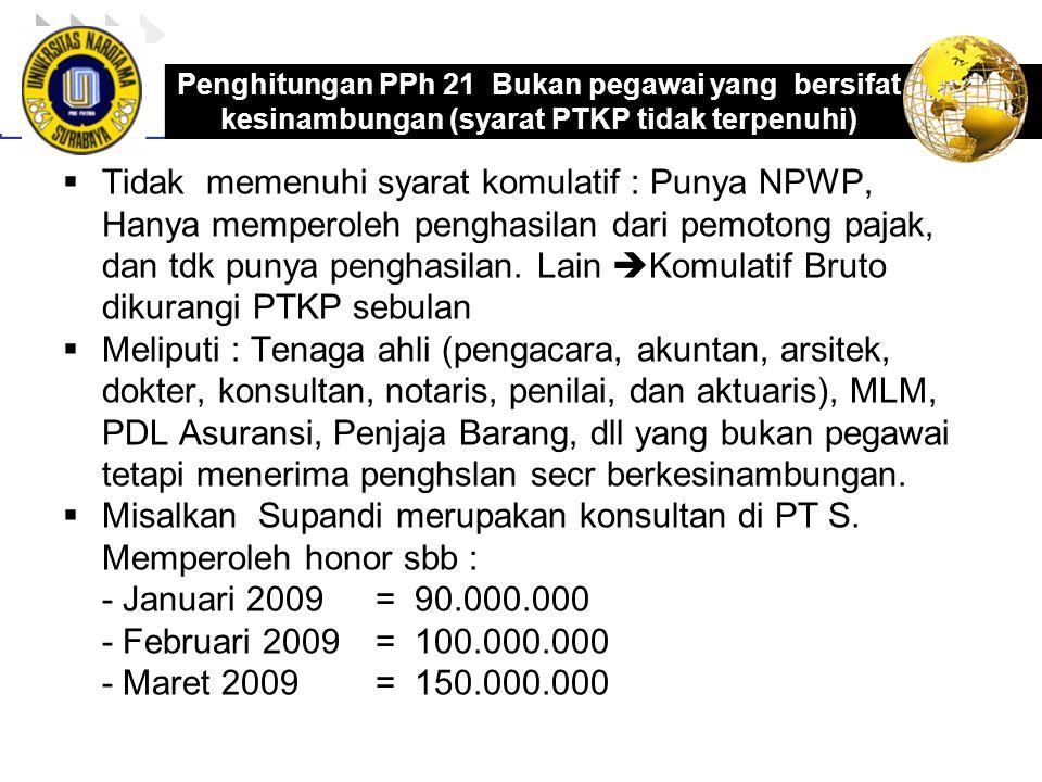 Misalkan Supandi merupakan konsultan di PT S. Memperoleh honor sbb :