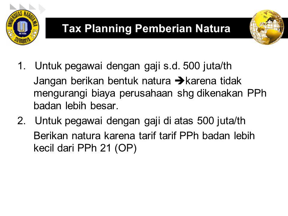 Tax Planning Pemberian Natura