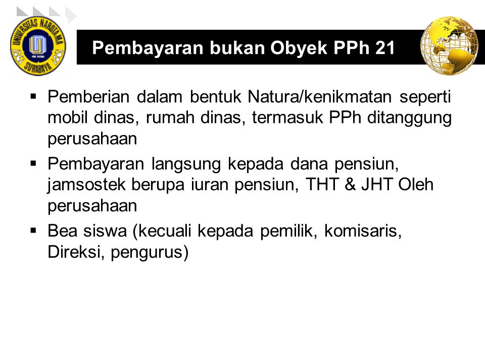 Pembayaran bukan Obyek PPh 21