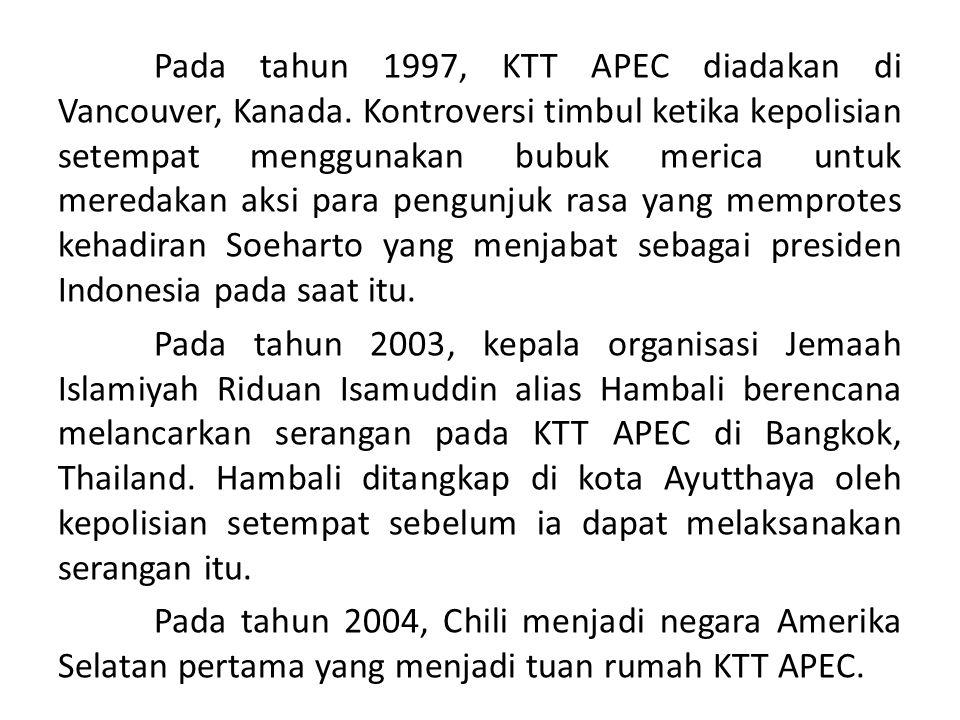 Pada tahun 1997, KTT APEC diadakan di Vancouver, Kanada