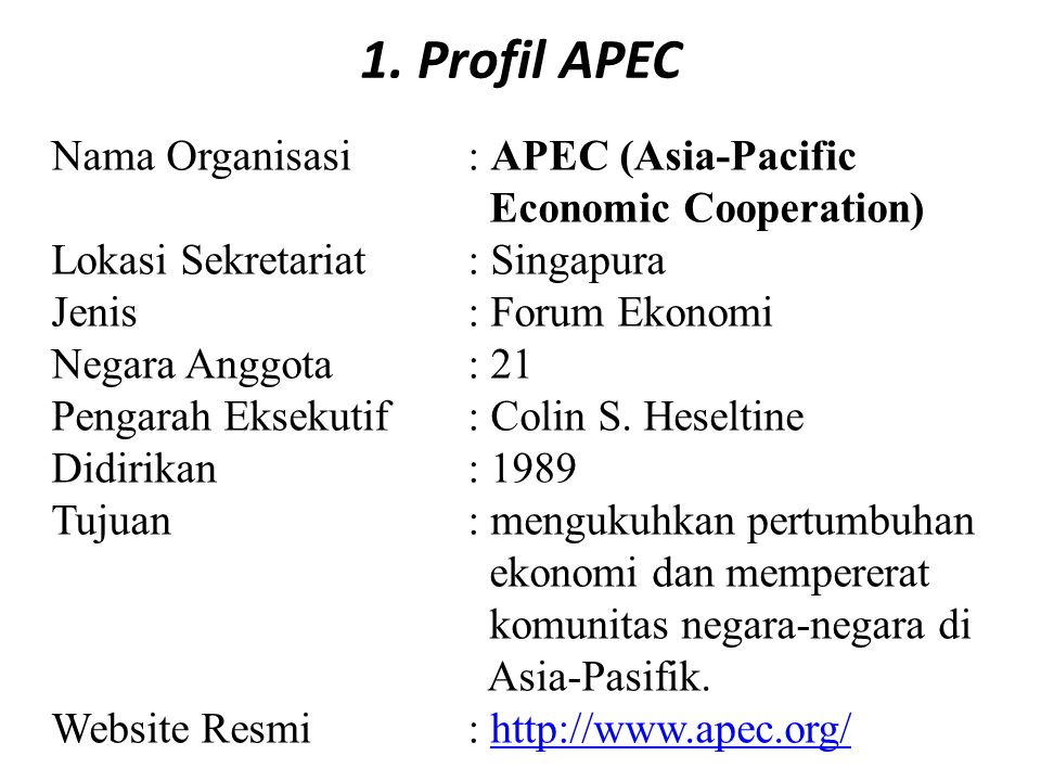 overview of asia pacific economic cooperation Contents[show] overview the asia-pacific economic cooperation (apec) forum is a group of 21 countries, formed in 1989, to promote free trade and investment flows.