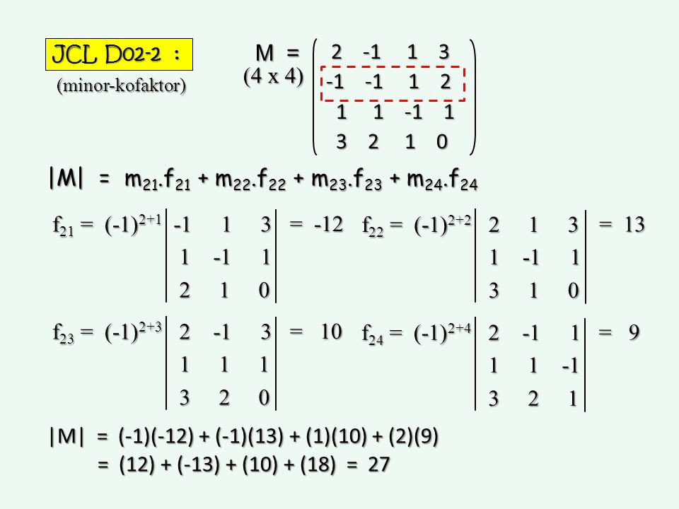 |M| = (-1)(-12) + (-1)(13) + (1)(10) + (2)(9)