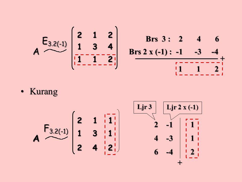 E3.2(-1) A Kurang F3.2(-1) A 2 1 2 1 3 4 1 1 2 Brs 3 : 2 4 6