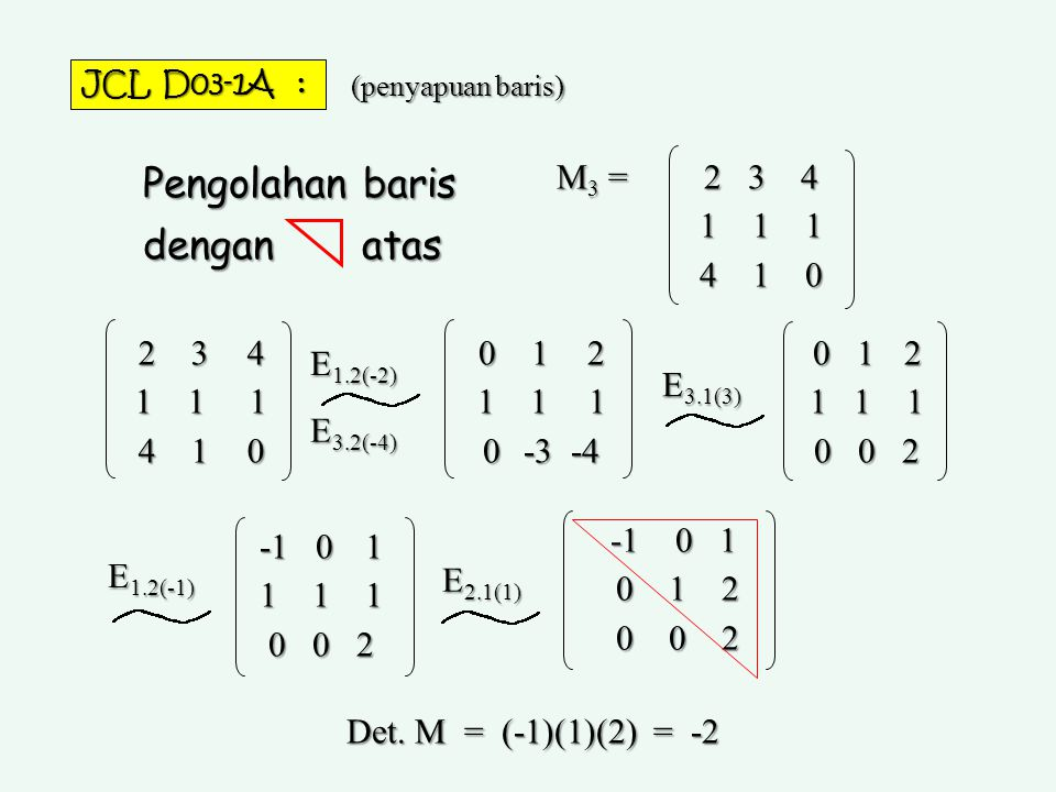 Pengolahan baris dengan atas M3 = 2 3 4 1 1 1 4 1 0 2 3 4 1 1 1 4 1 0