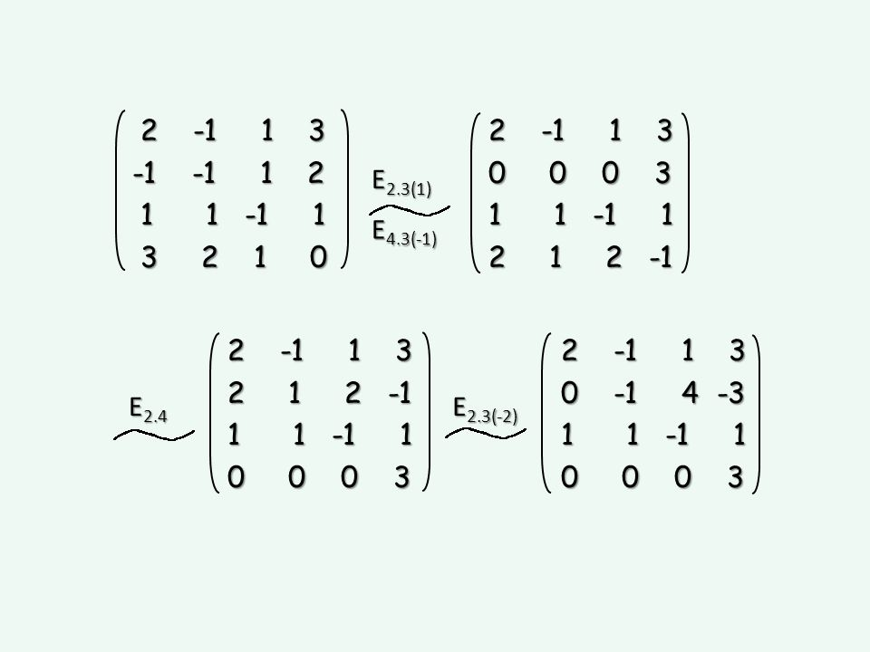 E2.3(1) E4.3(-1) 2 -1 1 3. -1 -1 1 2. 1 1 -1 1. 3 2 1 0.