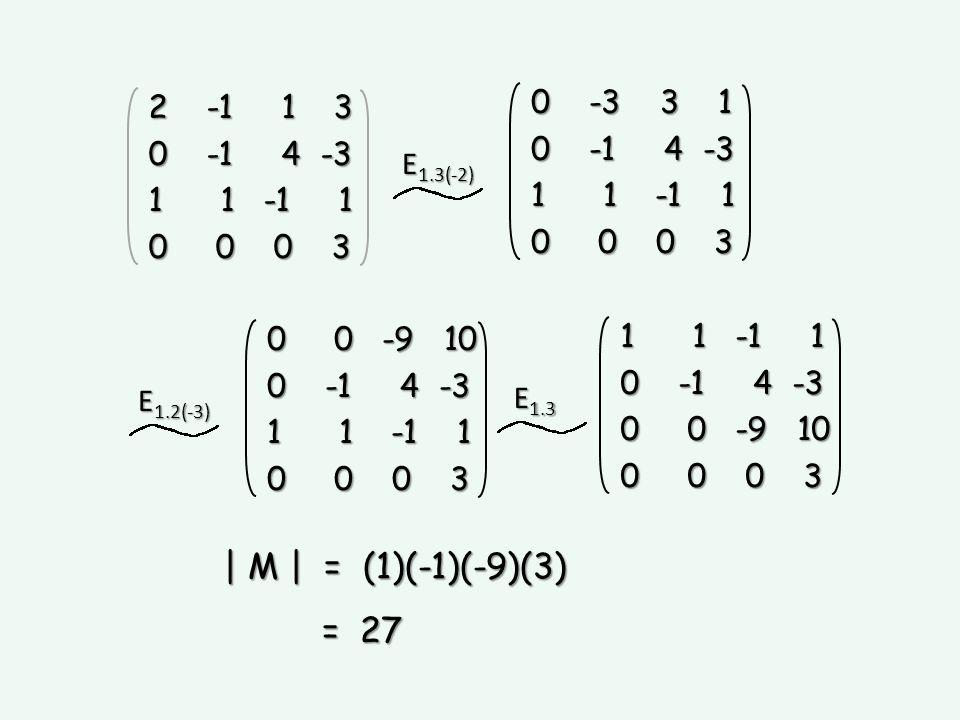 | M | = (1)(-1)(-9)(3) = 27 0 -3 3 1 2 -1 1 3 0 -1 4 -3 1 1 -1 1