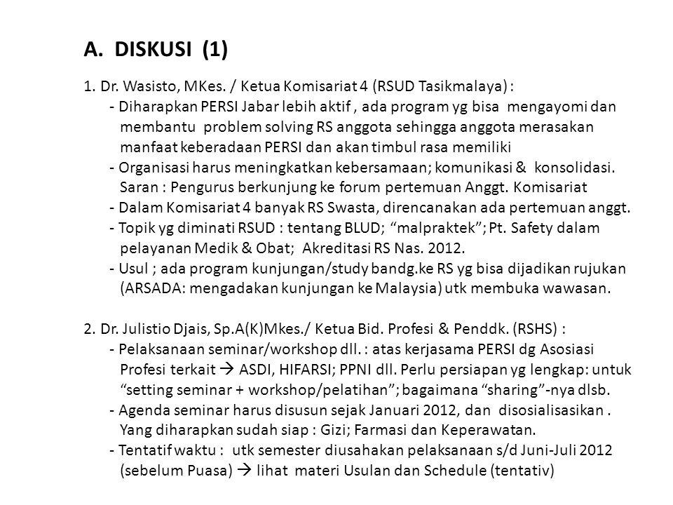 A. DISKUSI (1) 1. Dr. Wasisto, MKes. / Ketua Komisariat 4 (RSUD Tasikmalaya) :