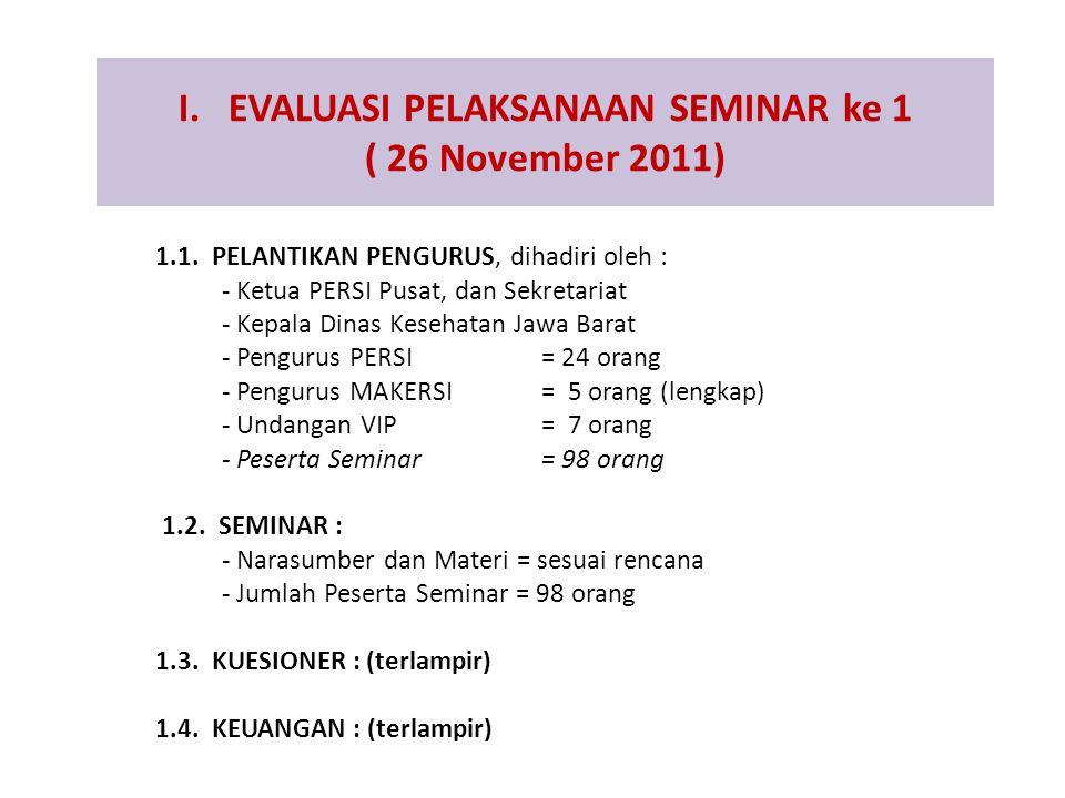 I. EVALUASI PELAKSANAAN SEMINAR ke 1 ( 26 November 2011)