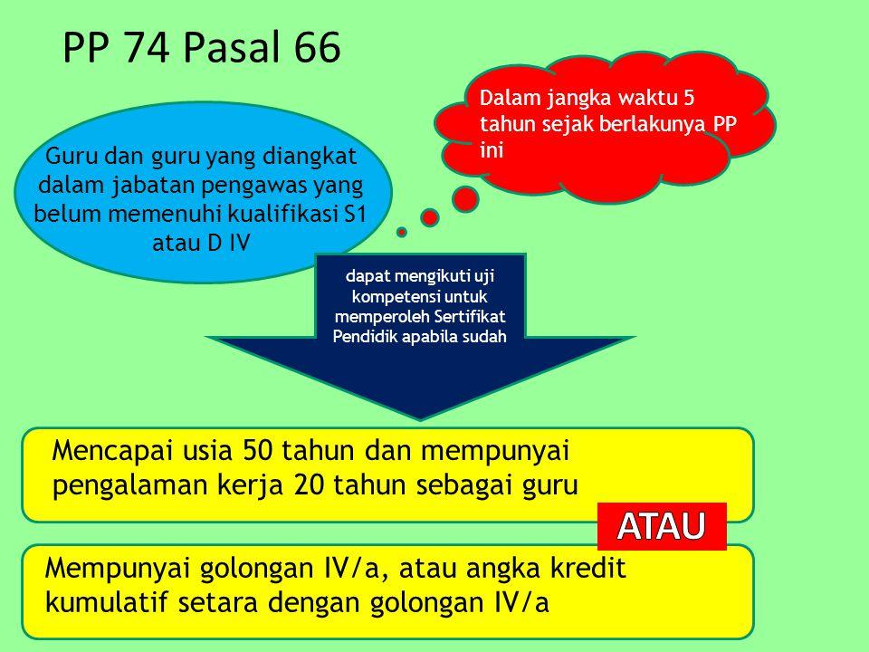 PP 74 Pasal 66 Dalam jangka waktu 5 tahun sejak berlakunya PP ini.