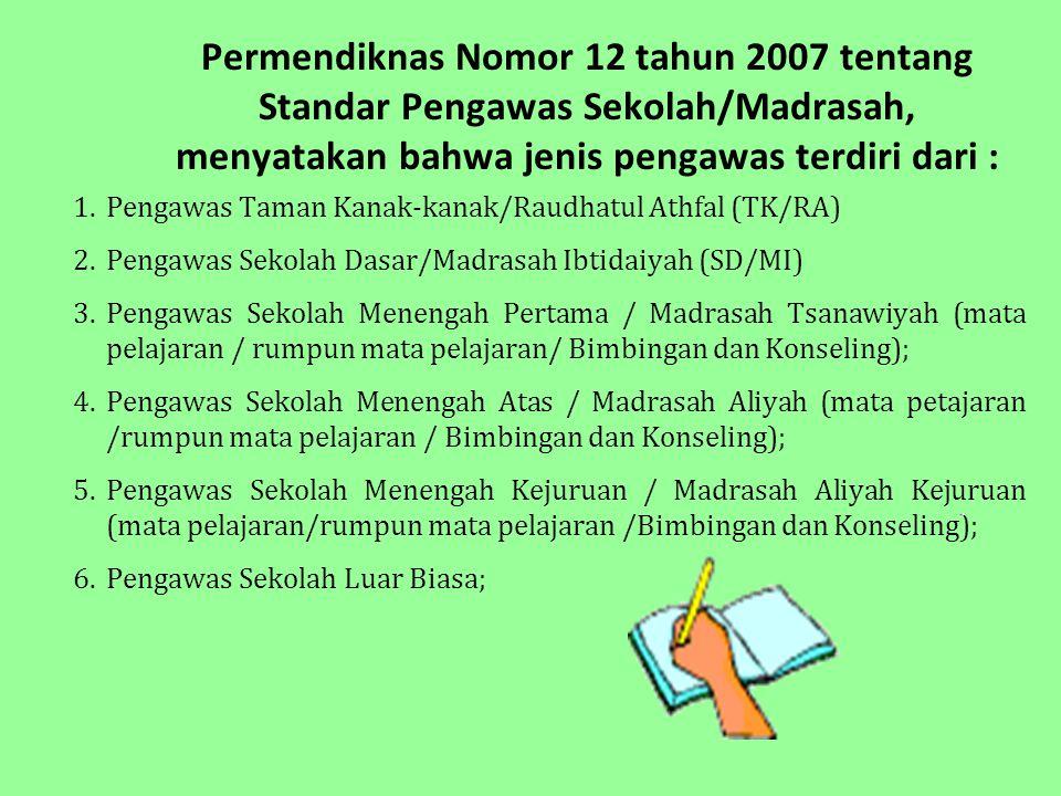 Permendiknas Nomor 12 tahun 2007 tentang Standar Pengawas Sekolah/Madrasah, menyatakan bahwa jenis pengawas terdiri dari :