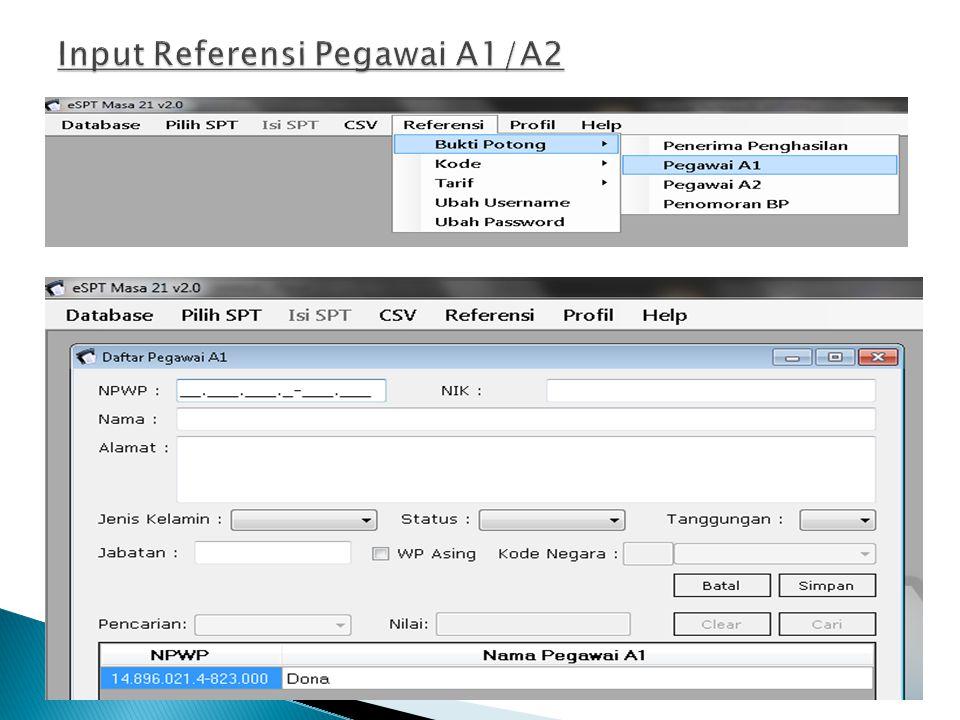 Input Referensi Pegawai A1/A2