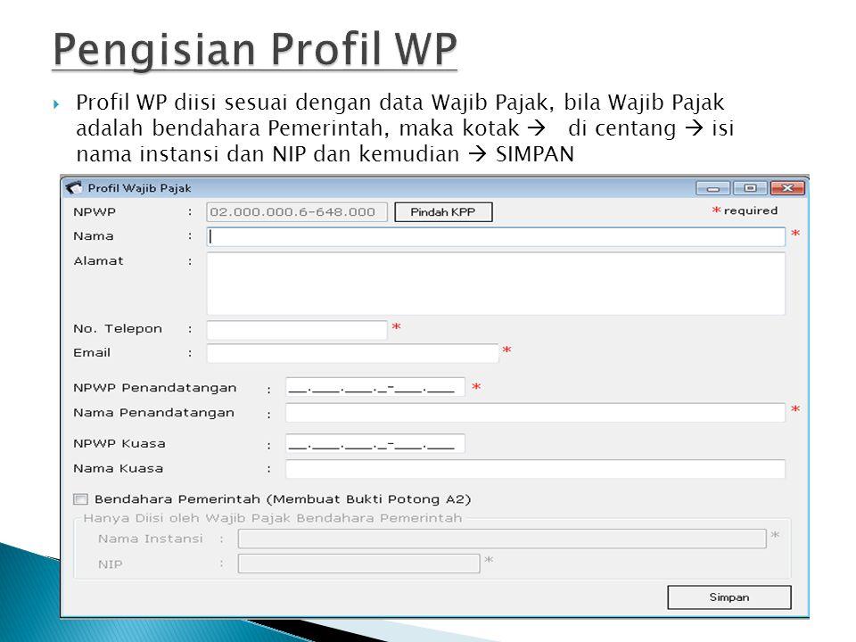Pengisian Profil WP