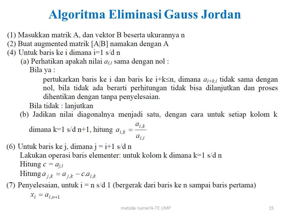 Algoritma Eliminasi Gauss Jordan