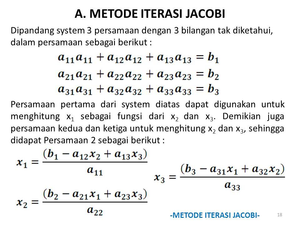 A. METODE ITERASI JACOBI