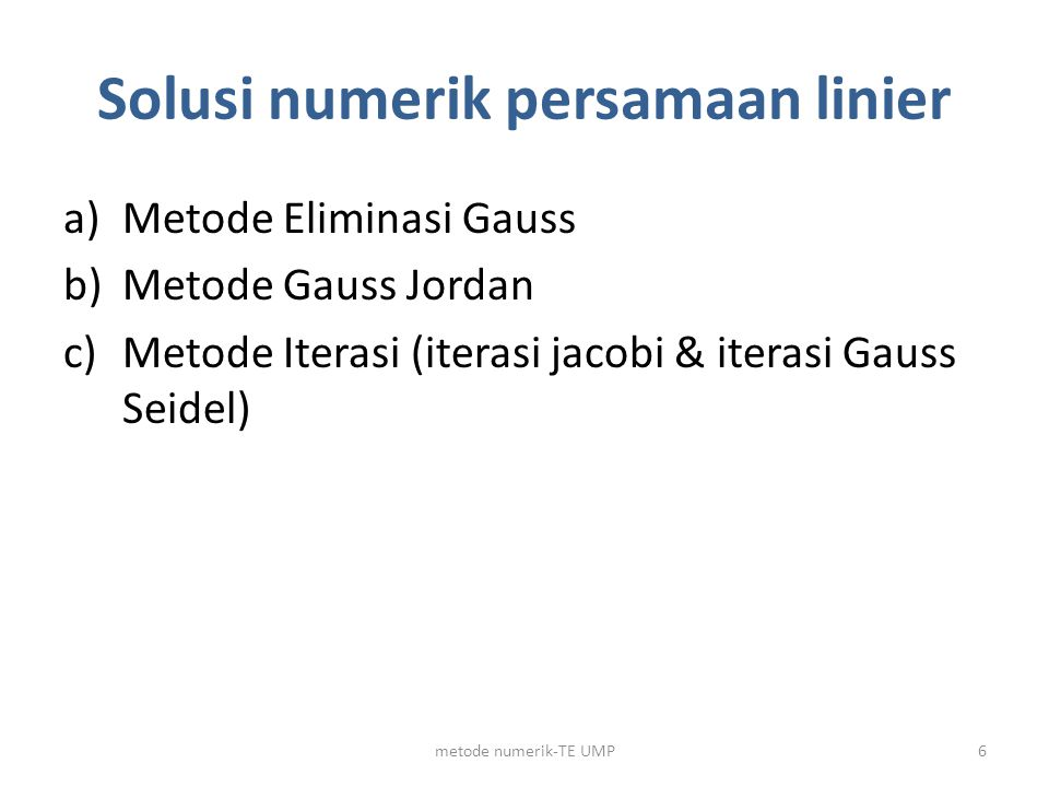 Solusi numerik persamaan linier