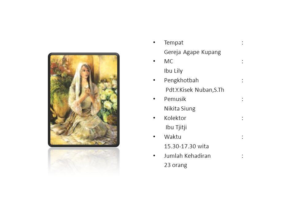 Tempat : Gereja Agape Kupang. MC : Ibu Lily. Pengkhotbah : Pdt.Y.Kisek Nuban,S.Th. Pemusik :