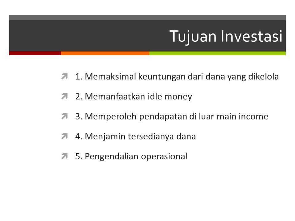 Tujuan Investasi 1. Memaksimal keuntungan dari dana yang dikelola