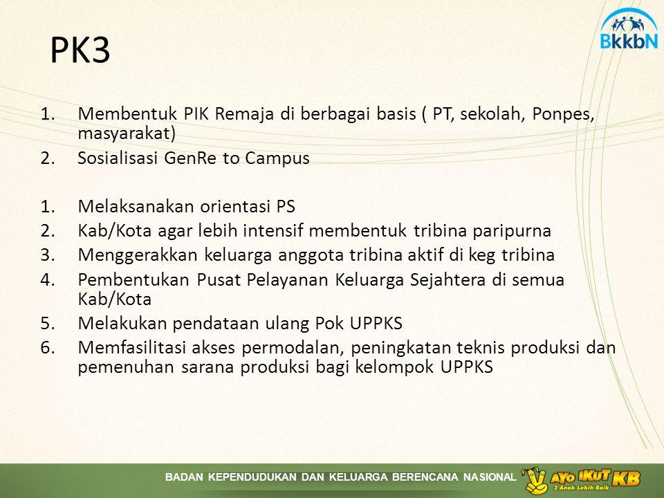 PK3 Membentuk PIK Remaja di berbagai basis ( PT, sekolah, Ponpes, masyarakat) Sosialisasi GenRe to Campus.