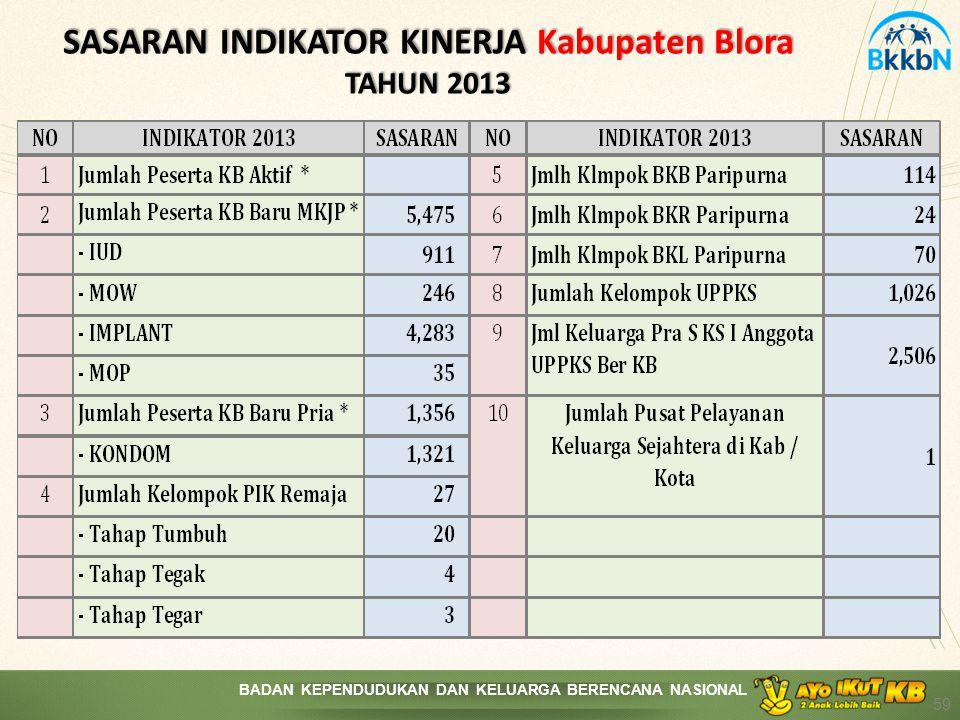 SASARAN INDIKATOR KINERJA Kabupaten Blora TAHUN 2013
