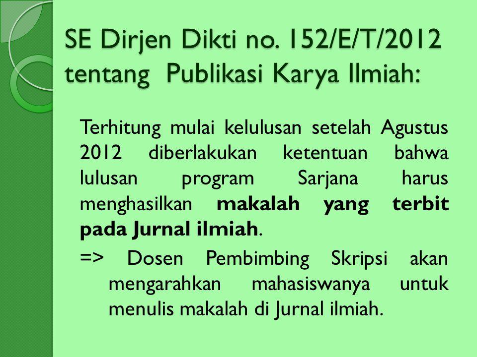 SE Dirjen Dikti no. 152/E/T/2012 tentang Publikasi Karya Ilmiah: