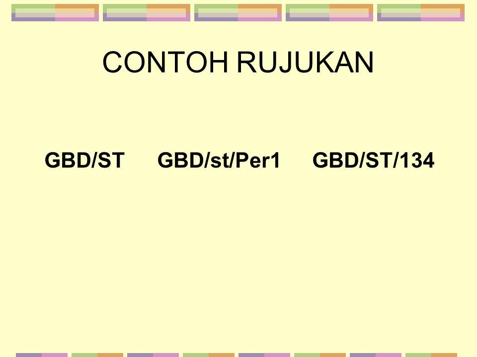 CONTOH RUJUKAN GBD/ST GBD/st/Per1 GBD/ST/134