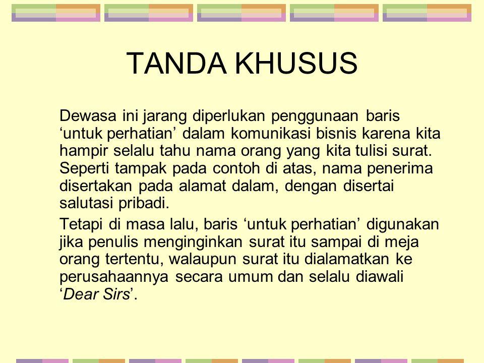 TANDA KHUSUS