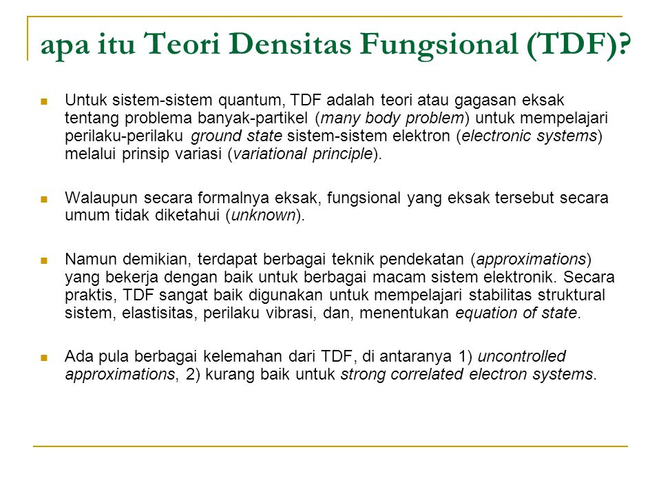 apa itu Teori Densitas Fungsional (TDF)
