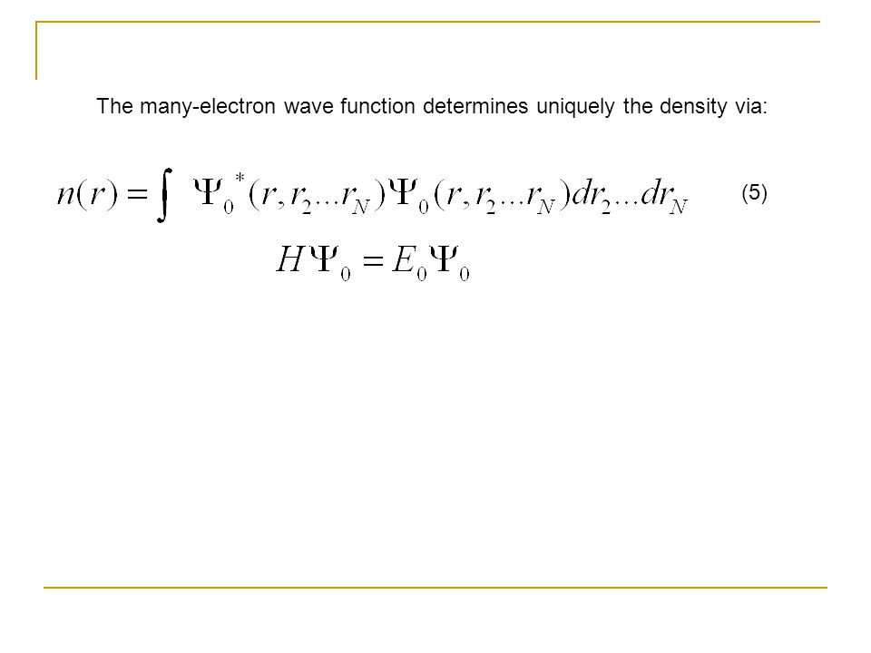 The many-electron wave function determines uniquely the density via: