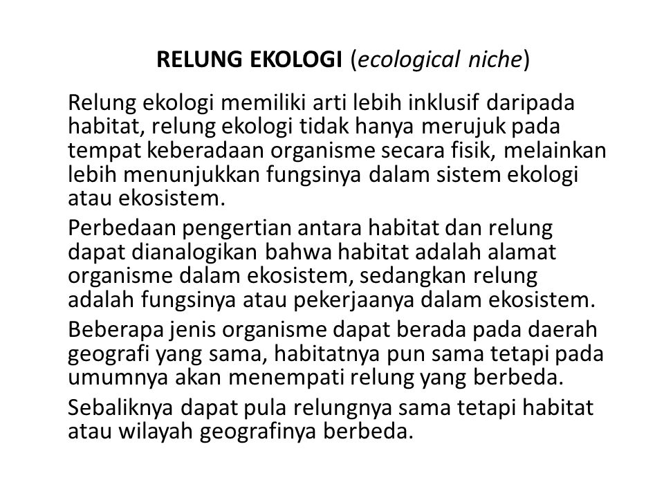 RELUNG EKOLOGI (ecological niche)