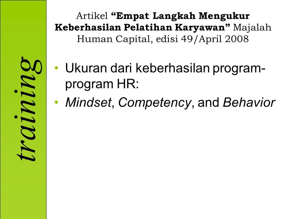 Ukuran dari keberhasilan program-program HR:
