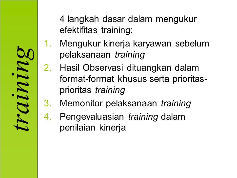 4 langkah dasar dalam mengukur efektifitas training: