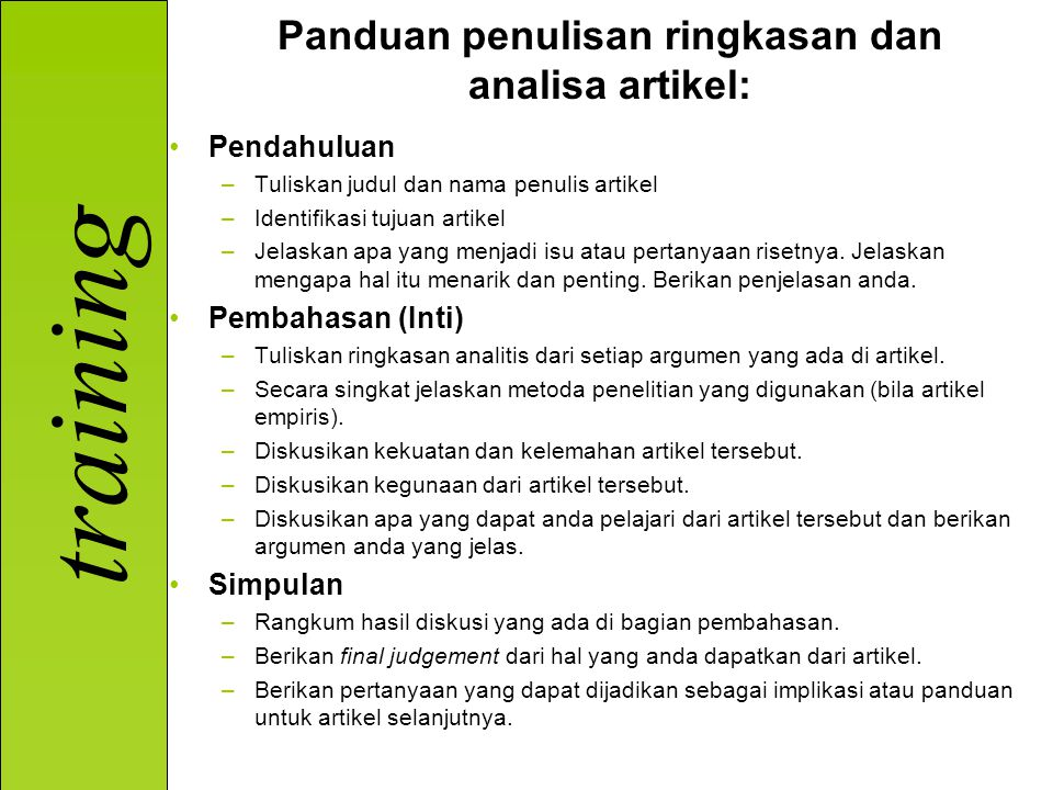 Panduan penulisan ringkasan dan analisa artikel:
