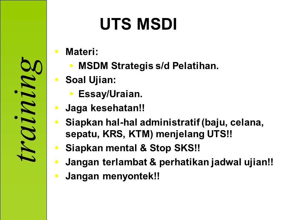 UTS MSDI Materi: MSDM Strategis s/d Pelatihan. Soal Ujian: