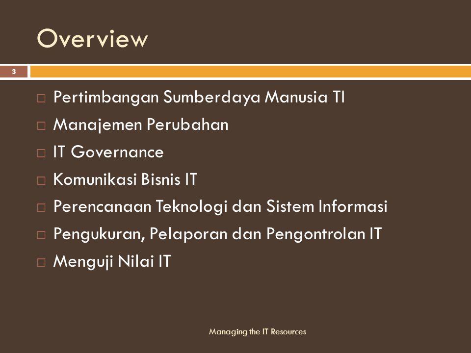 Overview Pertimbangan Sumberdaya Manusia TI Manajemen Perubahan