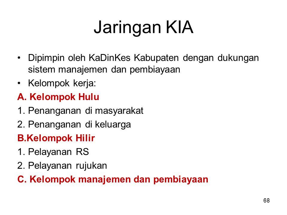 Jaringan KIA Dipimpin oleh KaDinKes Kabupaten dengan dukungan sistem manajemen dan pembiayaan. Kelompok kerja: