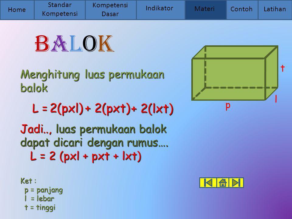 Balok 2(pxl) + 2(pxt) + 2(lxt) Menghitung luas permukaan balok