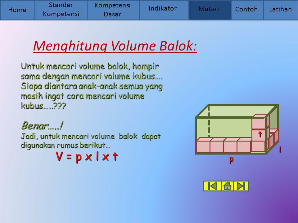 Menghitung Volume Balok: