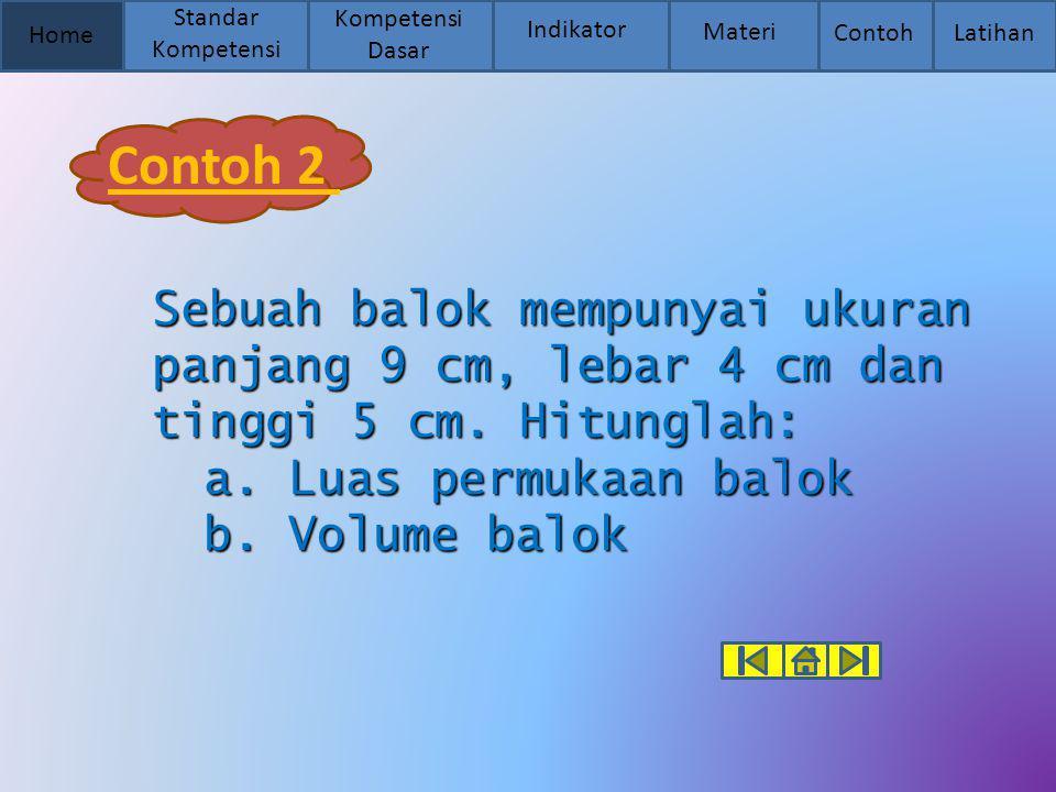 Contoh 2 a. Luas permukaan balok b. Volume balok