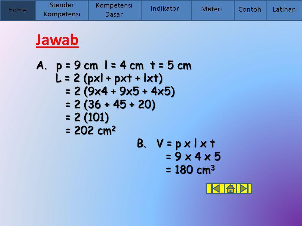 Jawab p = 9 cm l = 4 cm t = 5 cm L = 2 (pxl + pxt + lxt)