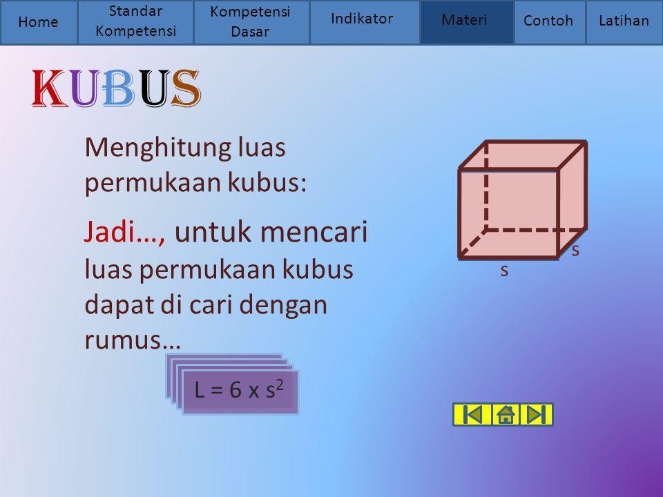 Standar Kompetensi Kompetensi Dasar. Home. Indikator. Materi. Contoh. Latihan. kubus. Menghitung luas permukaan kubus: