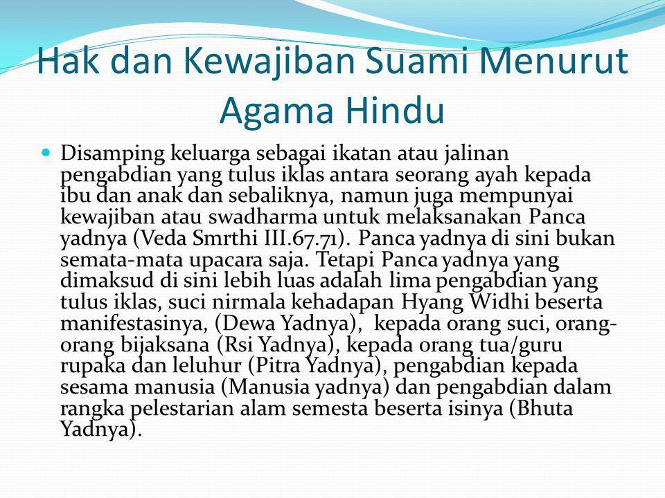 Hak dan Kewajiban Suami Menurut Agama Hindu