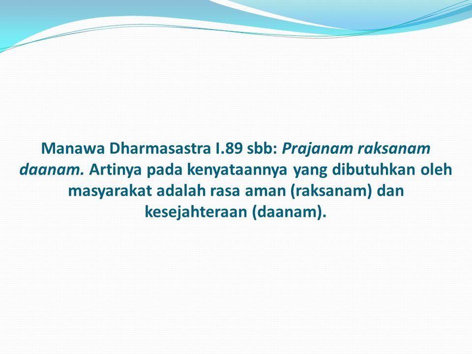 Manawa Dharmasastra I. 89 sbb: Prajanam raksanam daanam