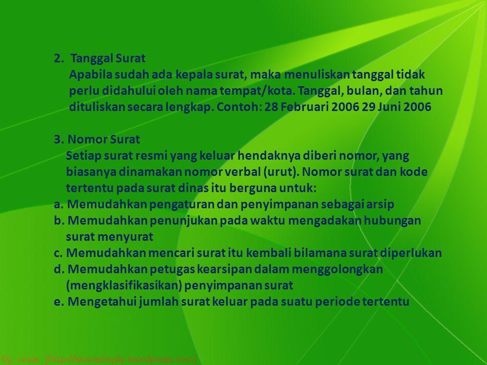 2. Tanggal Surat