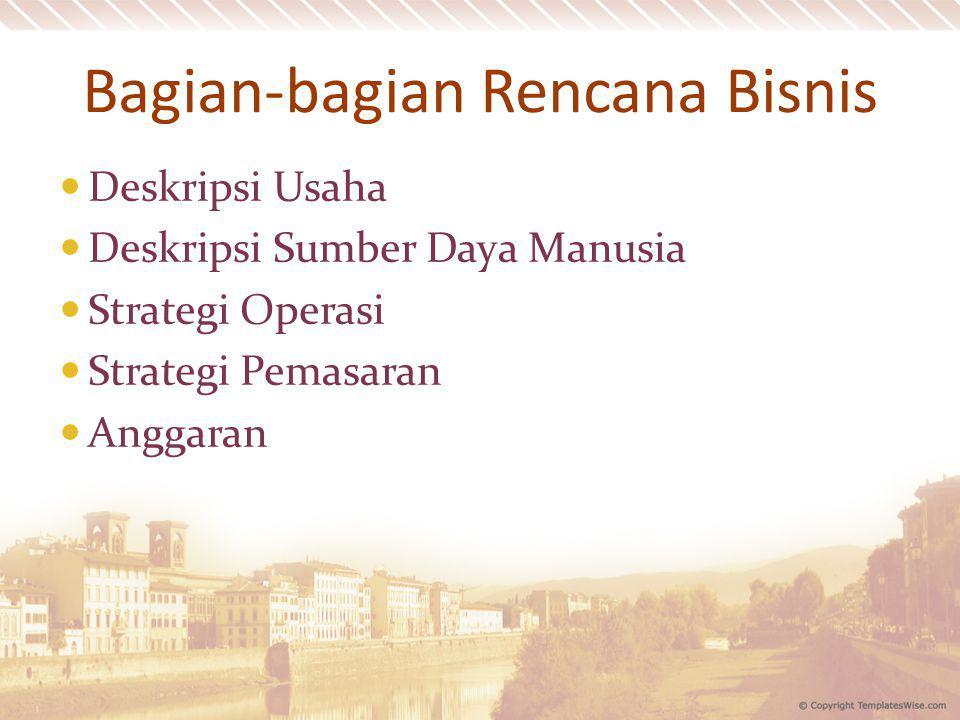Bagian-bagian Rencana Bisnis